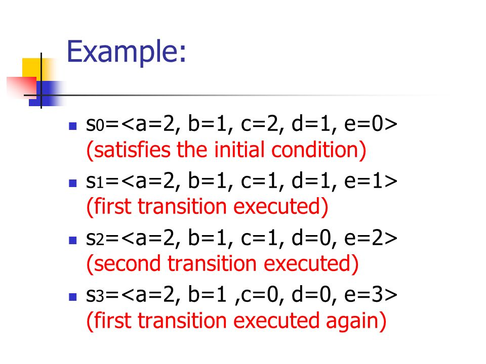 Example: s 0 = (satisfies the initial condition) s 1 = (first transition executed) s 2 = (second transition executed) s 3 = (first transition executed again)