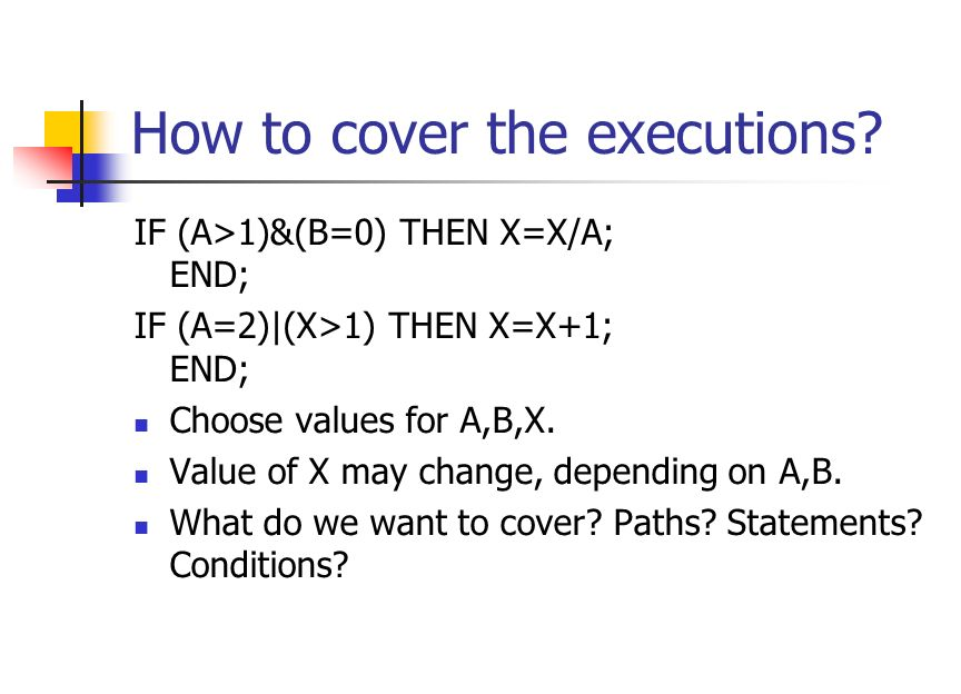 Cover all the paths of the program Infeasible. Consider the flow diagram on the left.