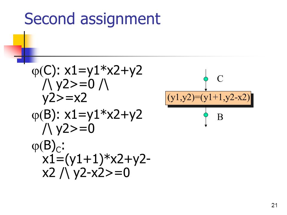 21 (y1,y2)=(y1+1,y2-x2) Second assignment C): x1=y1*x2+y2 /\ y2>=0 /\ y2>=x2 B): x1=y1*x2+y2 /\ y2>=0 B) C : x1=(y1+1)*x2+y2- x2 /\ y2-x2>=0 C B