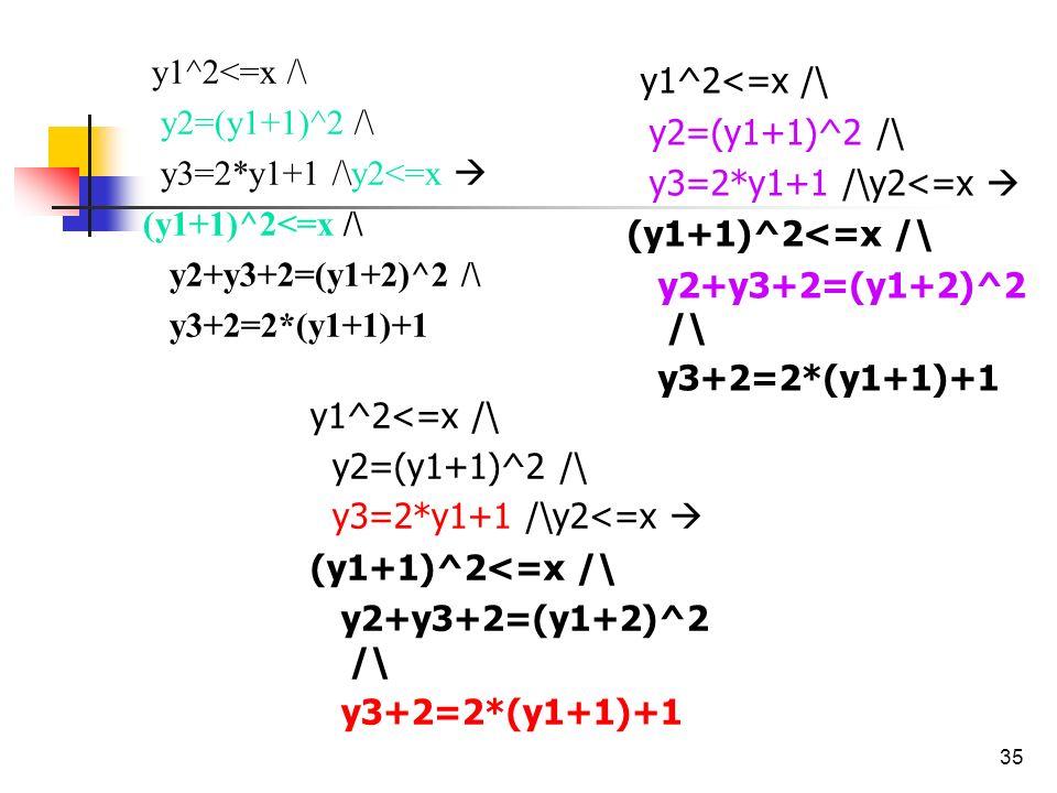 35 y1^2<=x /\ y2=(y1+1)^2 /\ y3=2*y1+1 /\y2<=x (y1+1)^2<=x /\ y2+y3+2=(y1+2)^2 /\ y3+2=2*(y1+1)+1 y1^2<=x /\ y2=(y1+1)^2 /\ y3=2*y1+1 /\y2<=x (y1+1)^2
