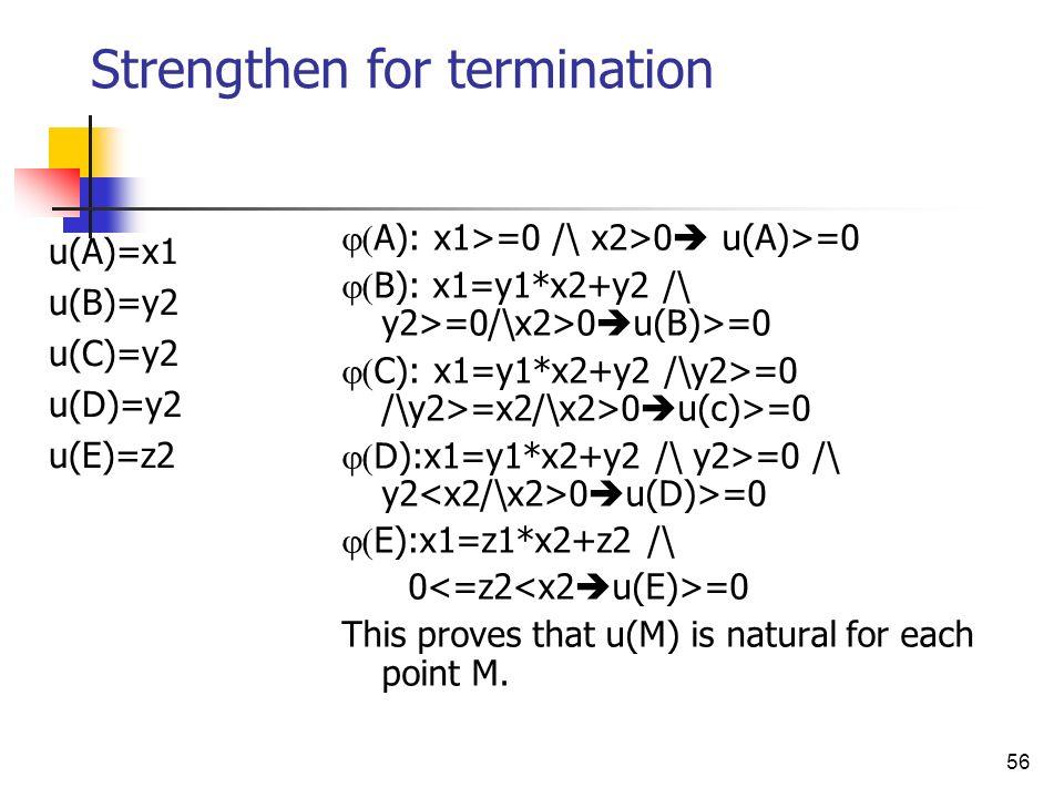 56 Strengthen for termination A): x1>=0 /\ x2>0 u(A)>=0 B): x1=y1*x2+y2 /\ y2>=0/\x2>0 u(B)>=0 C): x1=y1*x2+y2 /\y2>=0 /\y2>=x2/\x2>0 u(c)>=0 D):x1=y1
