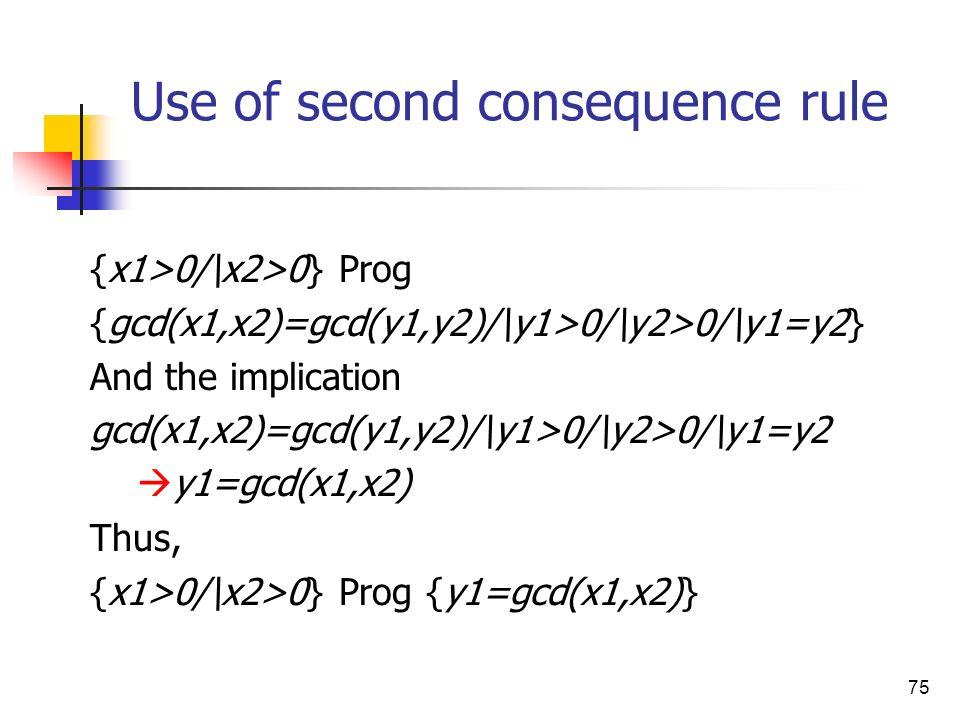 75 Use of second consequence rule {x1>0/\x2>0} Prog {gcd(x1,x2)=gcd(y1,y2)/\y1>0/\y2>0/\y1=y2} And the implication gcd(x1,x2)=gcd(y1,y2)/\y1>0/\y2>0/\