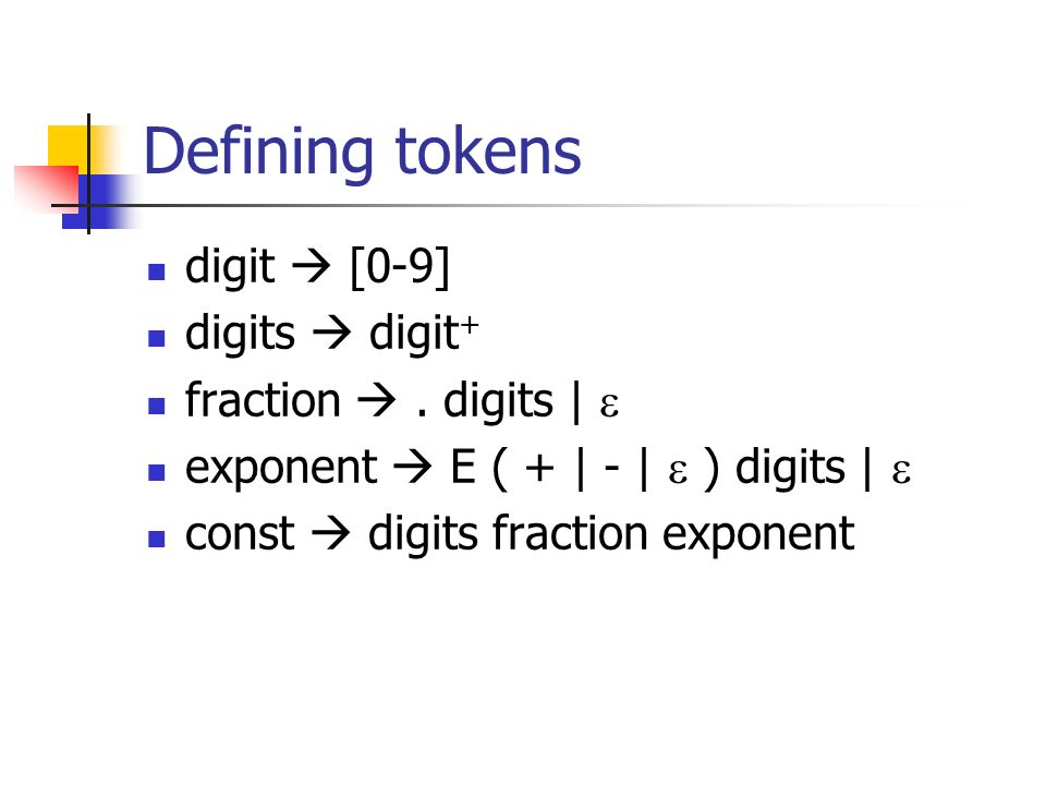 Defining tokens digit [0-9] digits digit + fraction. digits   exponent E ( +   -   ) digits   const digits fraction exponent