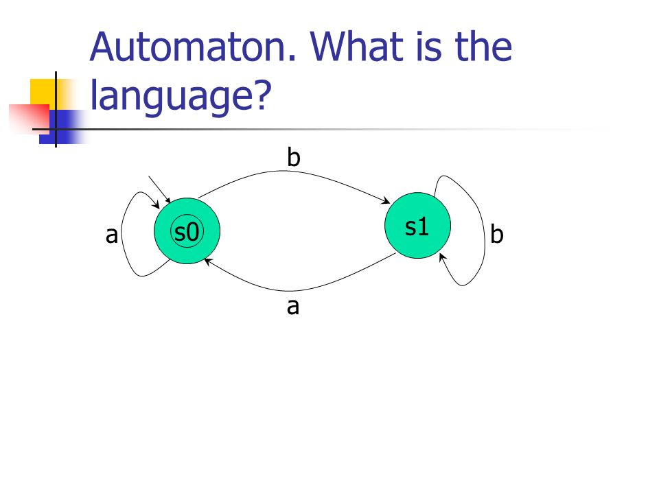 Automaton. What is the language? s1 a a b b s0