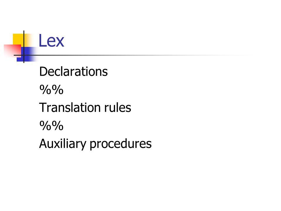 Lex Declarations % Translation rules % Auxiliary procedures