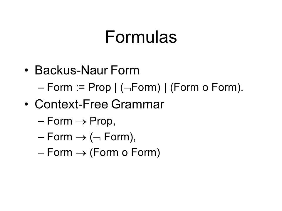Formulas Backus-Naur Form –Form := Prop | ( Form) | (Form o Form).