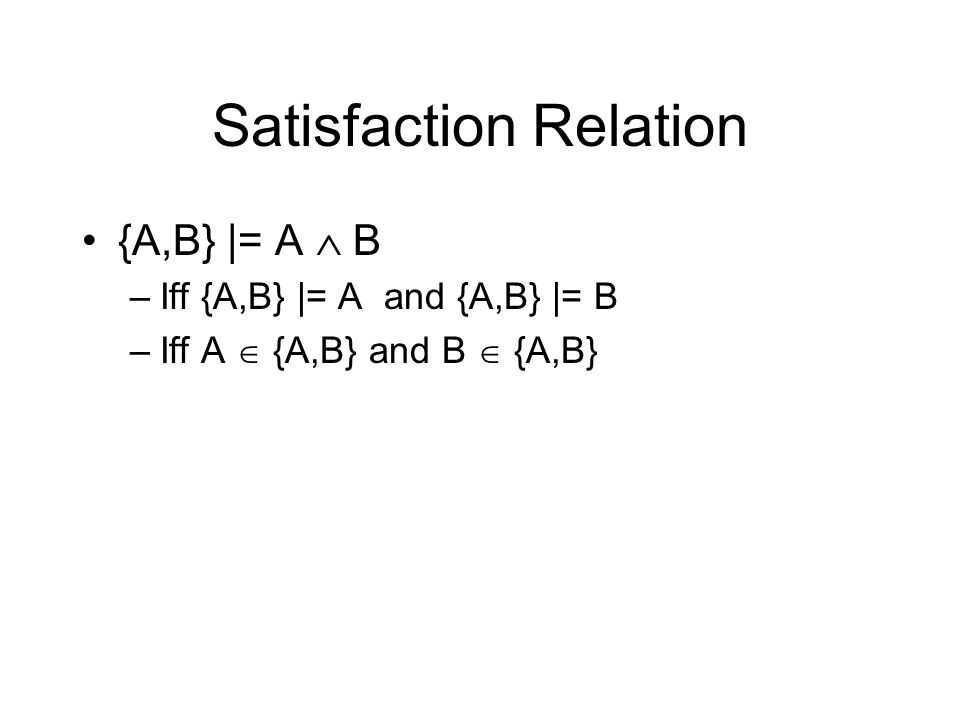 Satisfaction Relation {A,B} |= A B –Iff {A,B} |= A and {A,B} |= B –Iff A {A,B} and B {A,B}