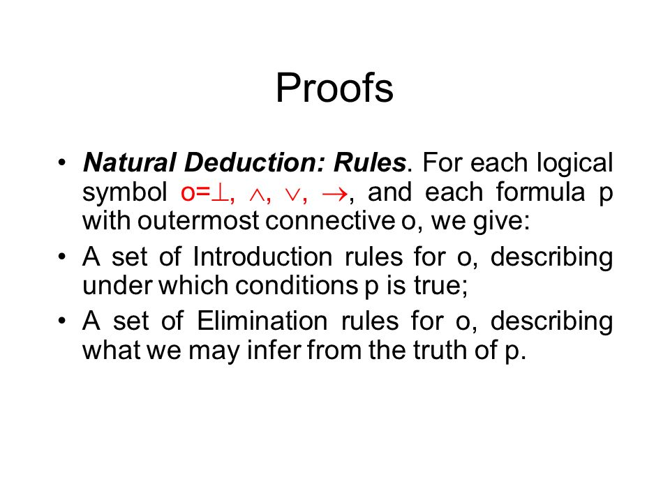 Proofs Natural Deduction: Rules.