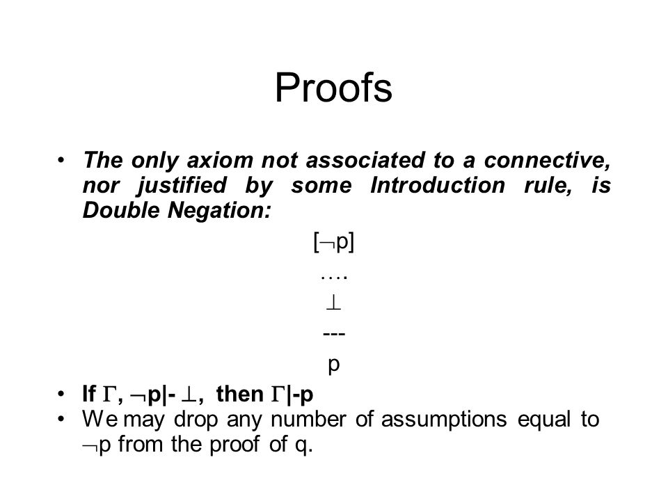 Proofs The only axiom not associated to a connective, nor justified by some Introduction rule, is Double Negation: [ p] ….