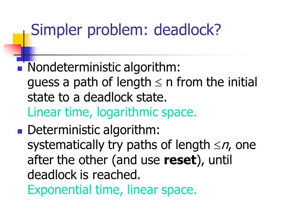 Deadlock complexity Nondeterministic algorithm: Linear time, logarithmic space.