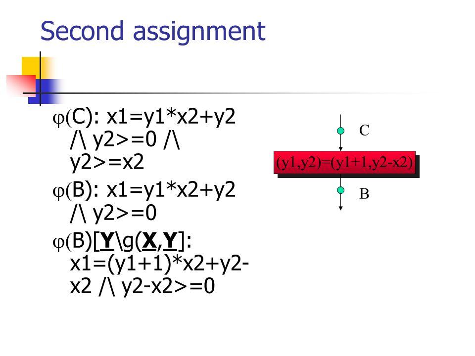 (y1,y2)=(y1+1,y2-x2) Second assignment C): x1=y1*x2+y2 /\ y2>=0 /\ y2>=x2 B): x1=y1*x2+y2 /\ y2>=0 B)[Y\g(X,Y]: x1=(y1+1)*x2+y2- x2 /\ y2-x2>=0 C B