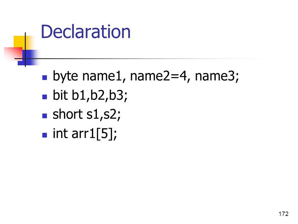 172 Declaration byte name1, name2=4, name3; bit b1,b2,b3; short s1,s2; int arr1[5];