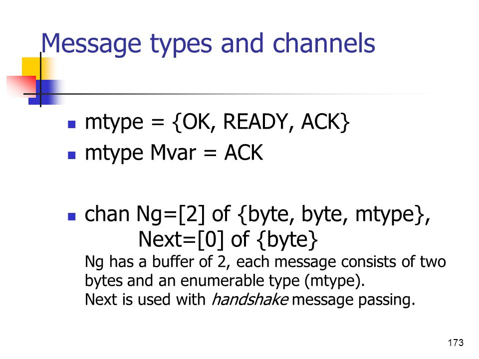 173 Message types and channels mtype = {OK, READY, ACK} mtype Mvar = ACK chan Ng=[2] of {byte, byte, mtype}, Next=[0] of {byte} Ng has a buffer of 2,
