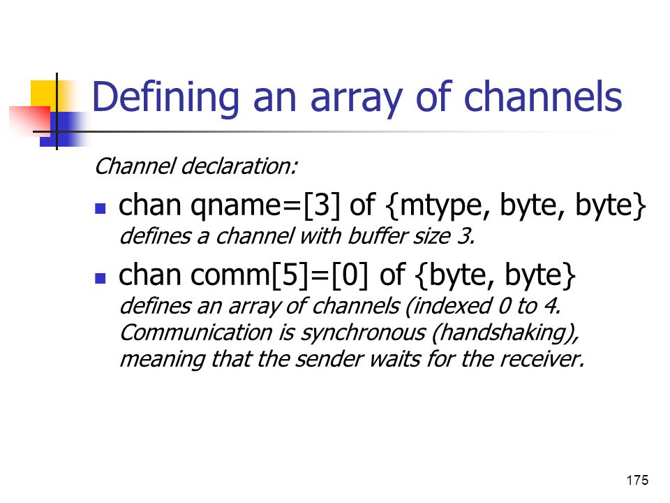 175 Defining an array of channels Channel declaration: chan qname=[3] of {mtype, byte, byte} defines a channel with buffer size 3. chan comm[5]=[0] of