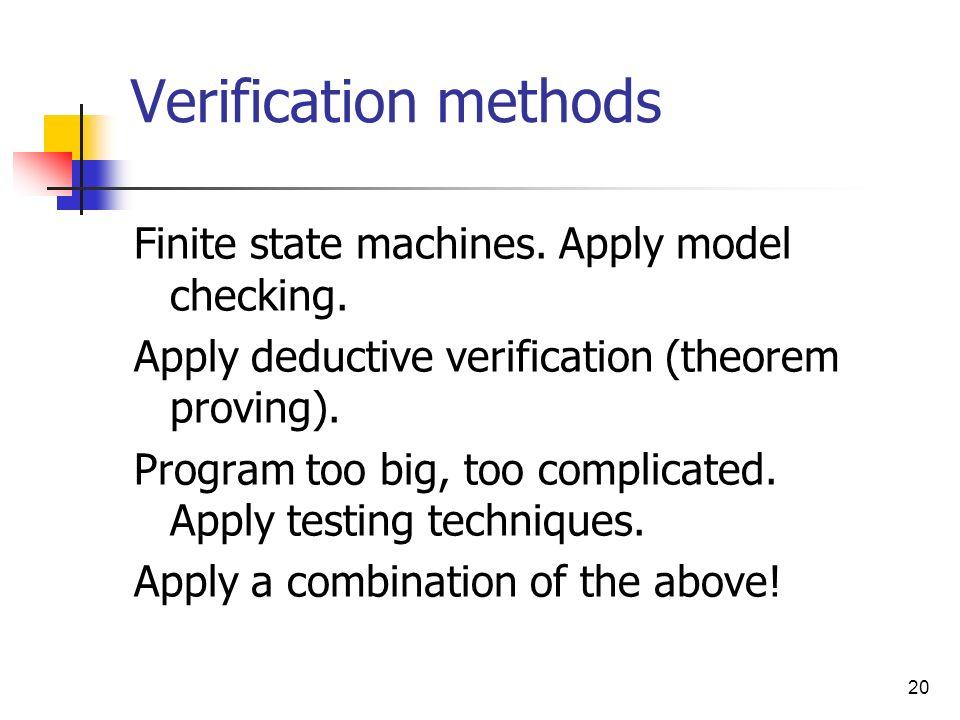 20 Verification methods Finite state machines. Apply model checking. Apply deductive verification (theorem proving). Program too big, too complicated.