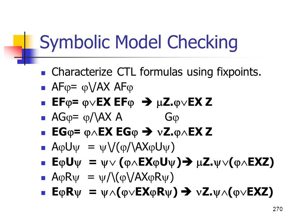270 Symbolic Model Checking Characterize CTL formulas using fixpoints. AF = \/AX AF EF = EX EF Z. EX Z AG = /\AX A G EG = EX EG Z. EX Z A U = \/( /\AX
