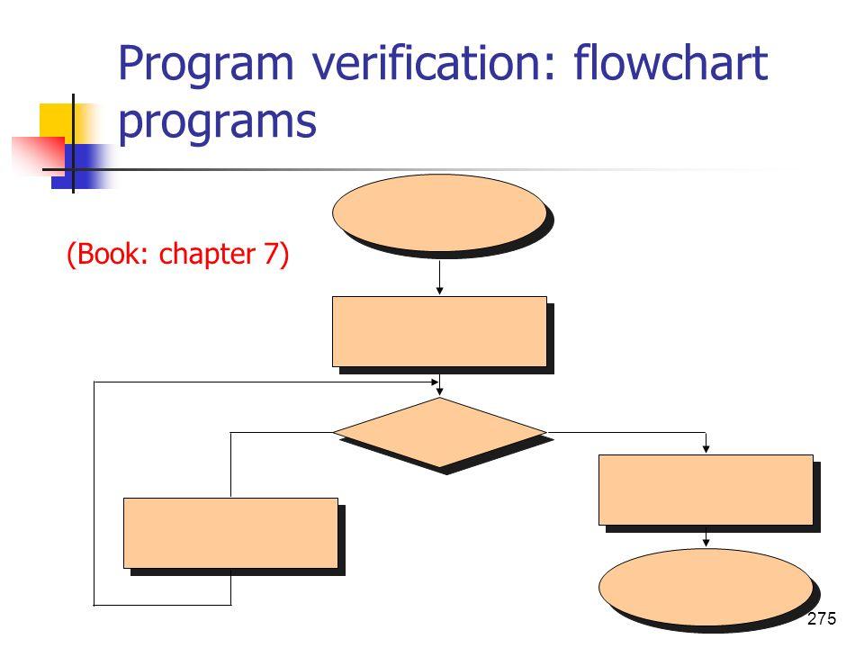 275 Program verification: flowchart programs (Book: chapter 7)