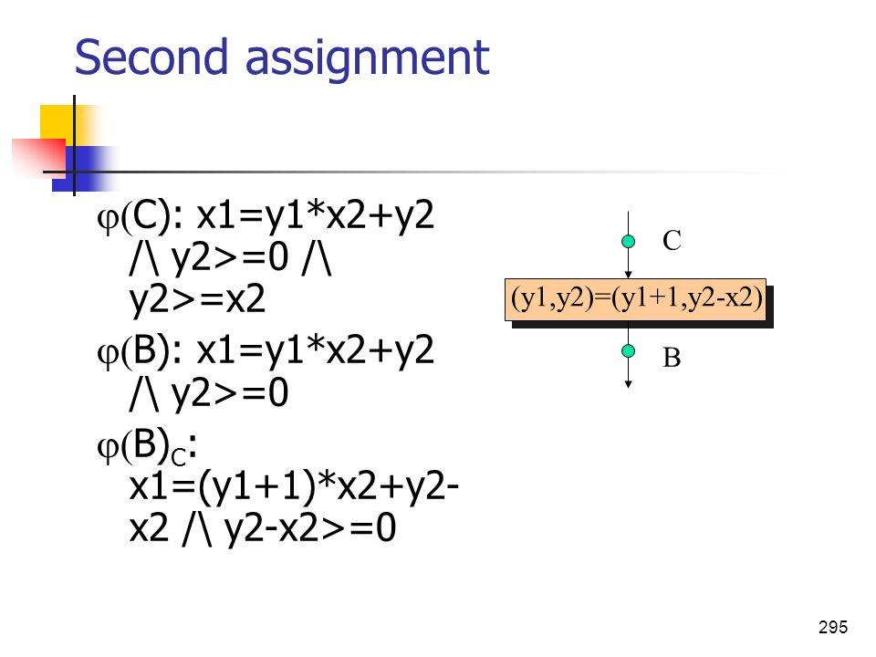 295 (y1,y2)=(y1+1,y2-x2) Second assignment C): x1=y1*x2+y2 /\ y2>=0 /\ y2>=x2 B): x1=y1*x2+y2 /\ y2>=0 B) C : x1=(y1+1)*x2+y2- x2 /\ y2-x2>=0 C B