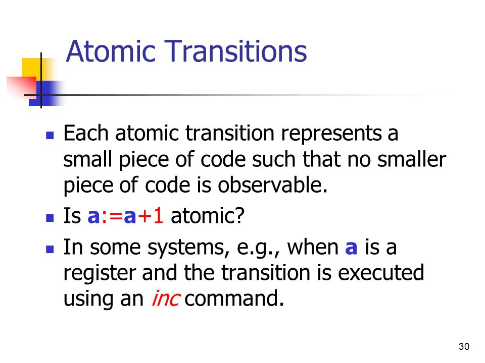 30 Atomic Transitions Each atomic transition represents a small piece of code such that no smaller piece of code is observable. Is a:=a+1 atomic? In s