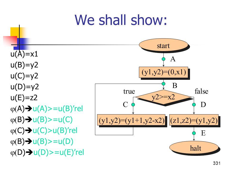 331 We shall show: u(A)=x1 u(B)=y2 u(C)=y2 u(D)=y2 u(E)=z2 A) u(A)>=u(B)rel B) u(B)>=u(C) C) u(C)>u(B)rel B) u(B)>=u(D) D) u(D)>=u(E)rel start halt (y