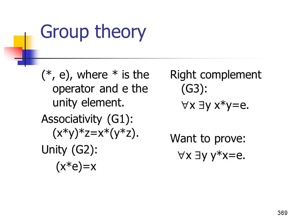 369 Group theory (*, e), where * is the operator and e the unity element. Associativity (G1): (x*y)*z=x*(y*z). Unity (G2): (x*e)=x Right complement (G