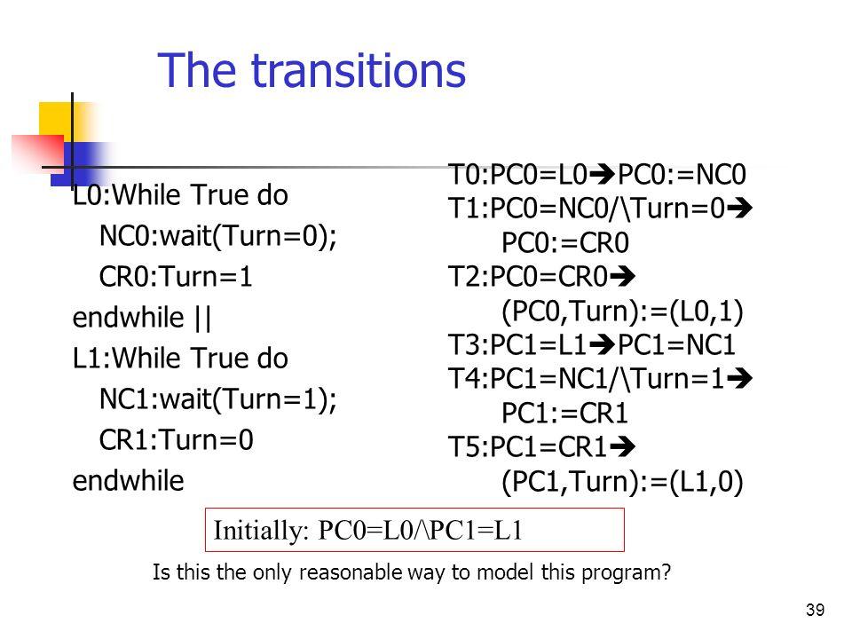 39 L0:While True do NC0:wait(Turn=0); CR0:Turn=1 endwhile || L1:While True do NC1:wait(Turn=1); CR1:Turn=0 endwhile T0:PC0=L0 PC0:=NC0 T1:PC0=NC0/\Tur