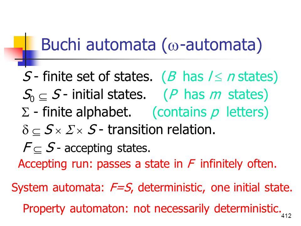 412 Buchi automata ( -automata) S - finite set of states. (B has l n states) S 0 S - initial states. (P has m states) - finite alphabet. (contains p l