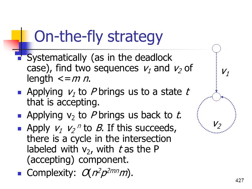427 On-the-fly strategy Systematically (as in the deadlock case), find two sequences v 1 and v 2 of length <=m n. Applying v 1 to P brings us to a sta