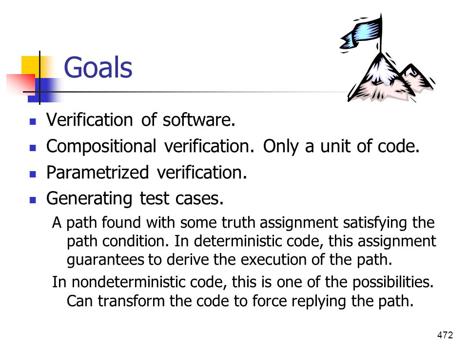 472 Goals Verification of software. Compositional verification. Only a unit of code. Parametrized verification. Generating test cases. A path found wi