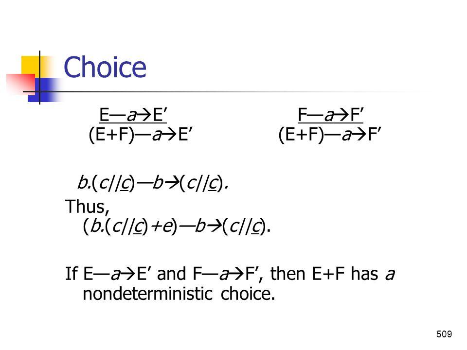 509 Choice Ea E Fa F (E+F)a E (E+F)a F b.(c||c)b (c||c). Thus, (b.(c||c)+e)b (c||c). If Ea E and Fa F, then E+F has a nondeterministic choice.