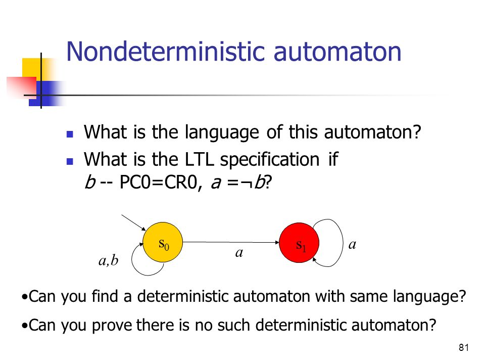 81 Nondeterministic automaton What is the language of this automaton? What is the LTL specification if b -- PC0=CR0, a =¬b? Can you find a determinist