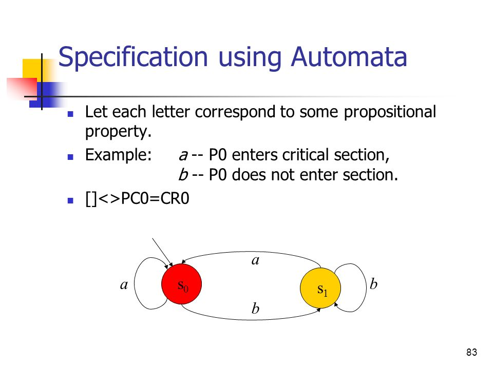 83 Specification using Automata Let each letter correspond to some propositional property. Example: a -- P0 enters critical section, b -- P0 does not