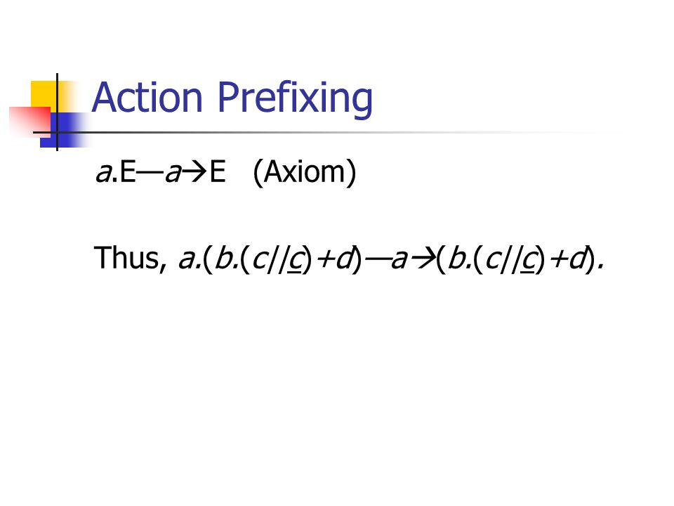 Action Prefixing a.Ea E (Axiom) Thus, a.(b.(c||c)+d)a (b.(c||c)+d).