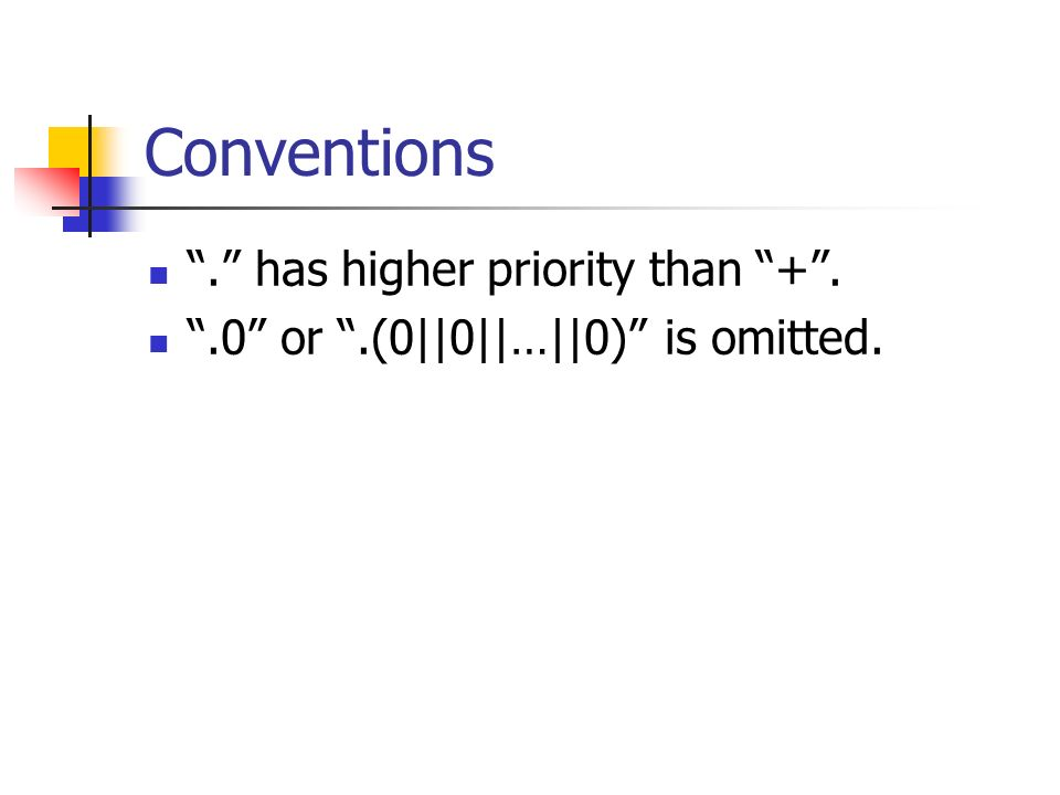 Conventions. has higher priority than +..0 or.(0||0||…||0) is omitted.