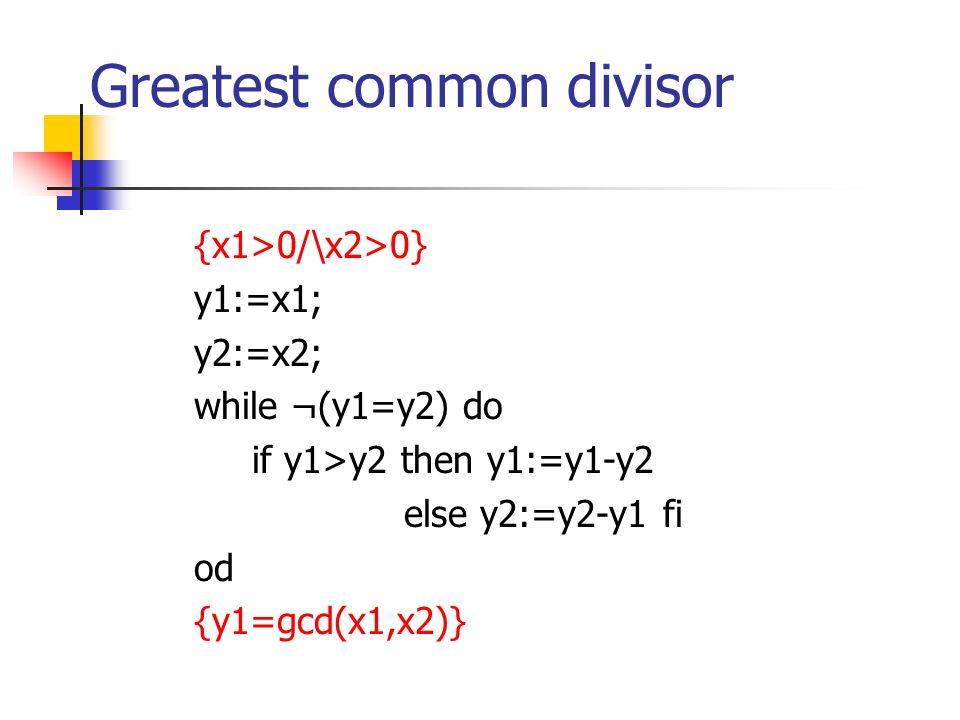 Greatest common divisor {x1>0/\x2>0} y1:=x1; y2:=x2; while ¬(y1=y2) do if y1>y2 then y1:=y1-y2 else y2:=y2-y1 fi od {y1=gcd(x1,x2)}