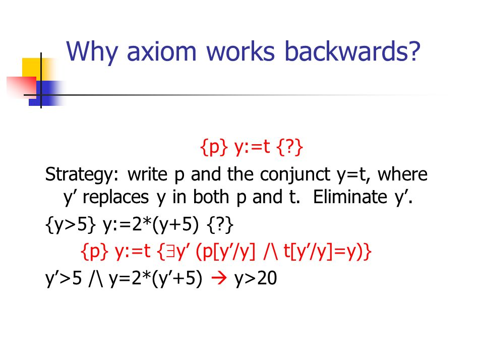 Why axiom works backwards? {p} y:=t {?} Strategy: write p and the conjunct y=t, where y replaces y in both p and t. Eliminate y. {y>5} y:=2*(y+5) {?}