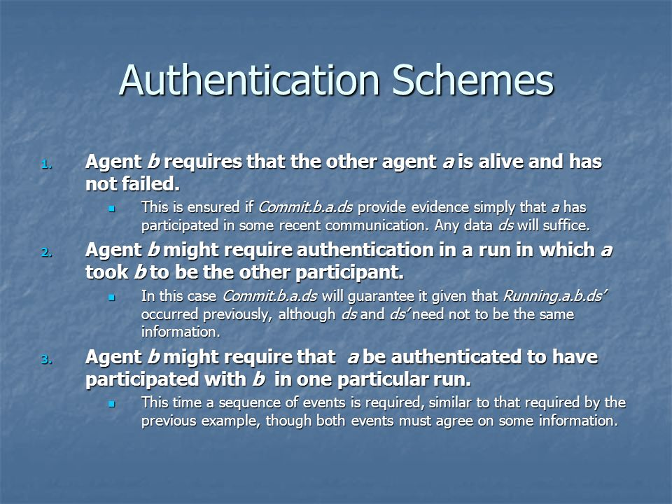 Authentication Schemes 1.Agent b requires that the other agent a is alive and has not failed.