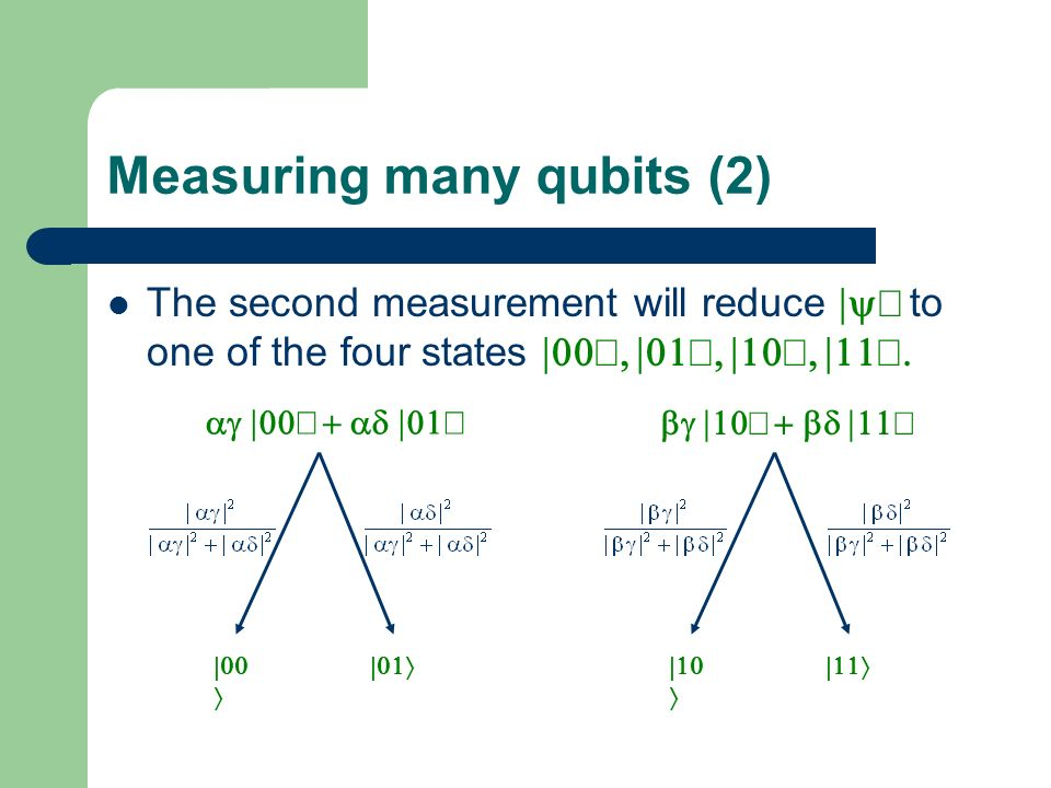 Measuring many qubits (2) The second measurement will reduce to one of the four states