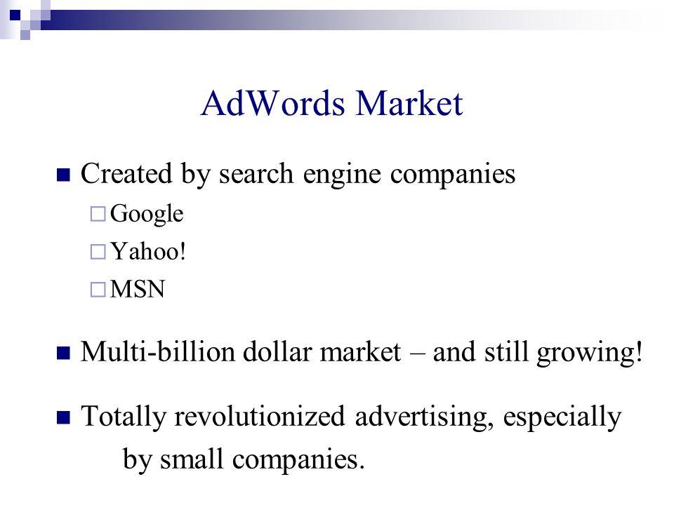 AdWords Market Created by search engine companies Google Yahoo! MSN Multi-billion dollar market – and still growing! Totally revolutionized advertisin