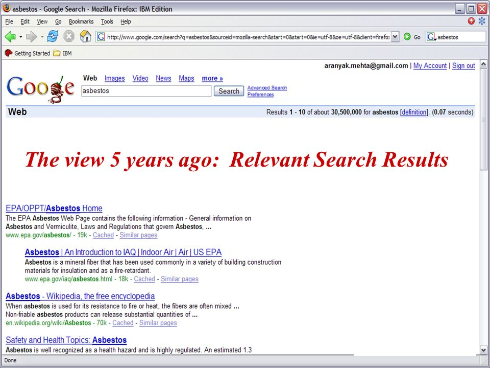 The view 5 years ago: Relevant Search Results