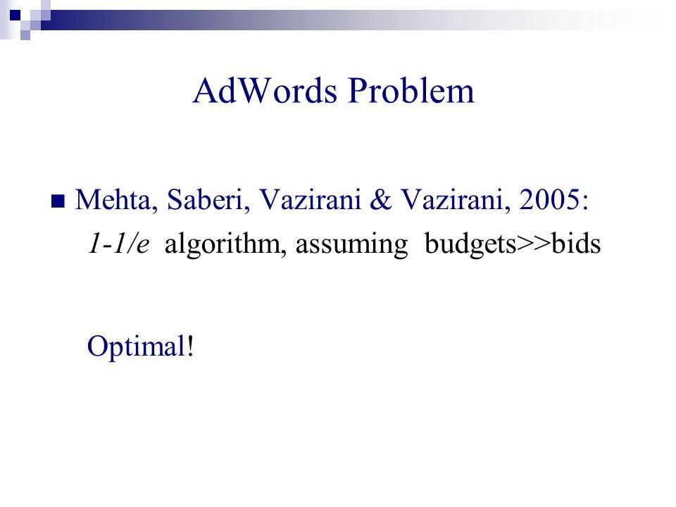 AdWords Problem Mehta, Saberi, Vazirani & Vazirani, 2005: 1-1/e algorithm, assuming budgets>>bids Optimal!