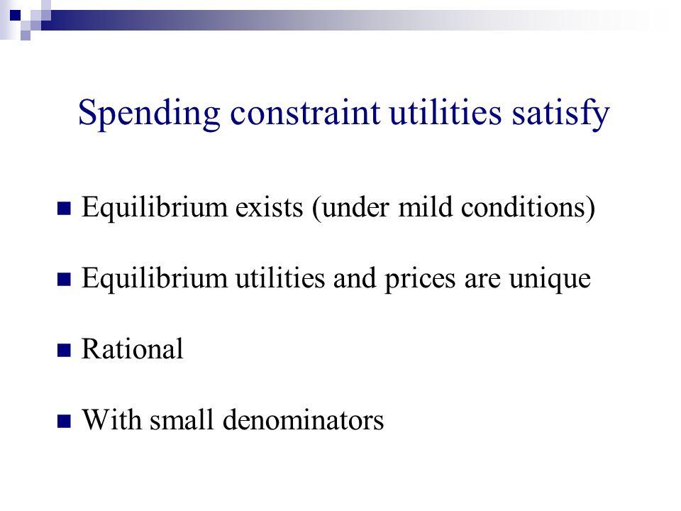 Equilibrium exists (under mild conditions) Equilibrium utilities and prices are unique Rational With small denominators Spending constraint utilities