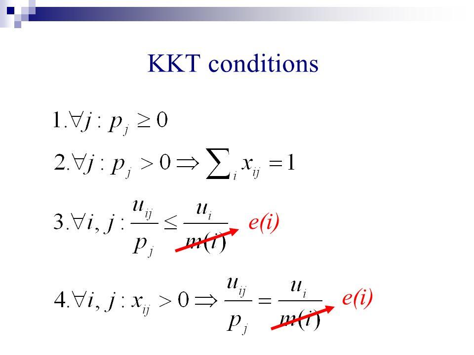 KKT conditions e(i)