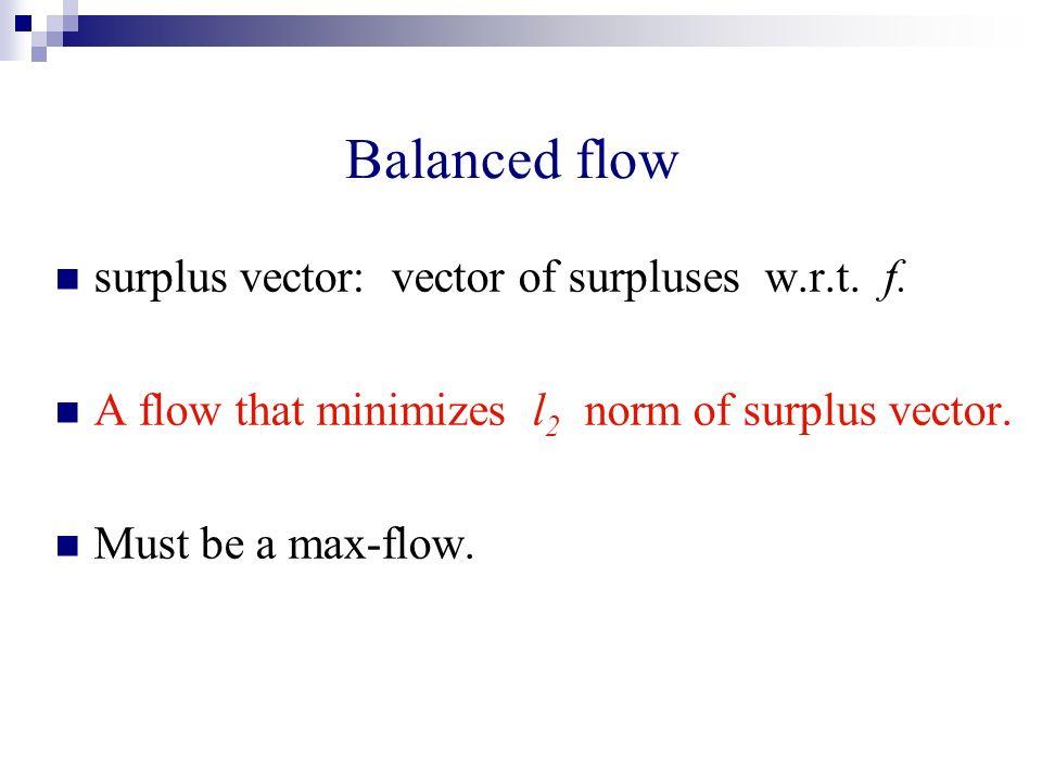 Balanced flow surplus vector: vector of surpluses w.r.t. f. A flow that minimizes l 2 norm of surplus vector. Must be a max-flow.