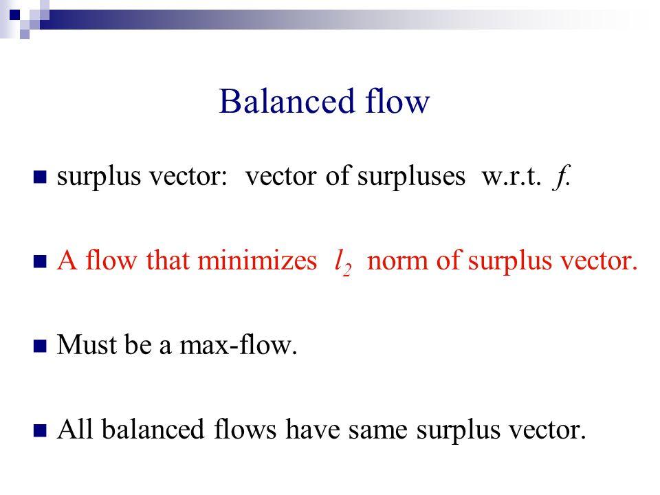 Balanced flow surplus vector: vector of surpluses w.r.t. f. A flow that minimizes l 2 norm of surplus vector. Must be a max-flow. All balanced flows h