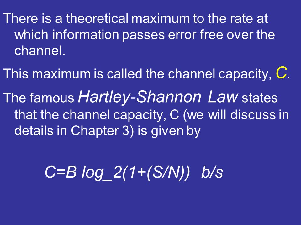 There is a theoretical maximum to the rate at which information passes error free over the channel. This maximum is called the channel capacity, C. Th