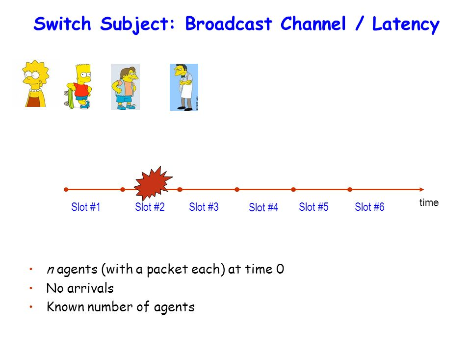 Switch Subject: Broadcast Channel / Latency Slot #1 Slot #2 Slot #3 Slot #4 Slot #5 Slot #6 time n agents (with a packet each) at time 0 No arrivals Known number of agents