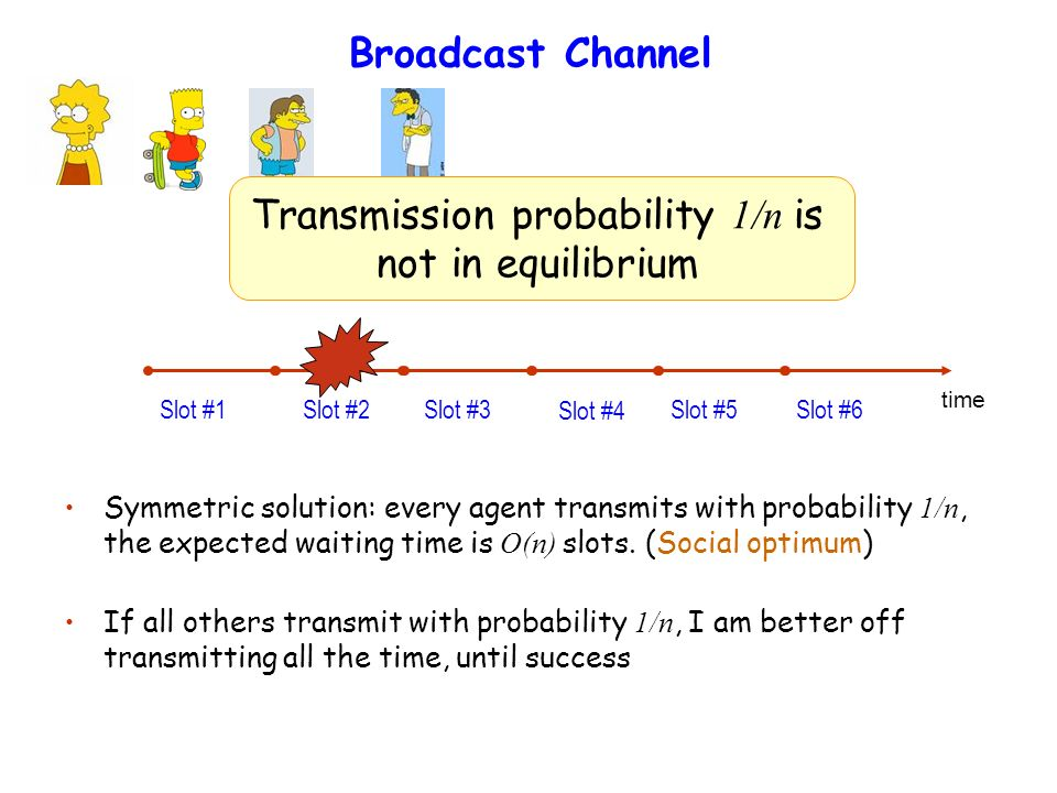 Broadcast Channel Slot #1 Slot #2 Slot #3 Slot #4 Slot #5 Slot #6 Symmetric solution: every agent transmits with probability 1/n, the expected waiting time is O(n) slots.