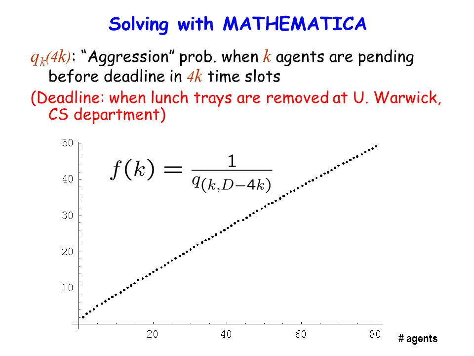 Solving with MATHEMATICA q k (4 k ) : Aggression prob.