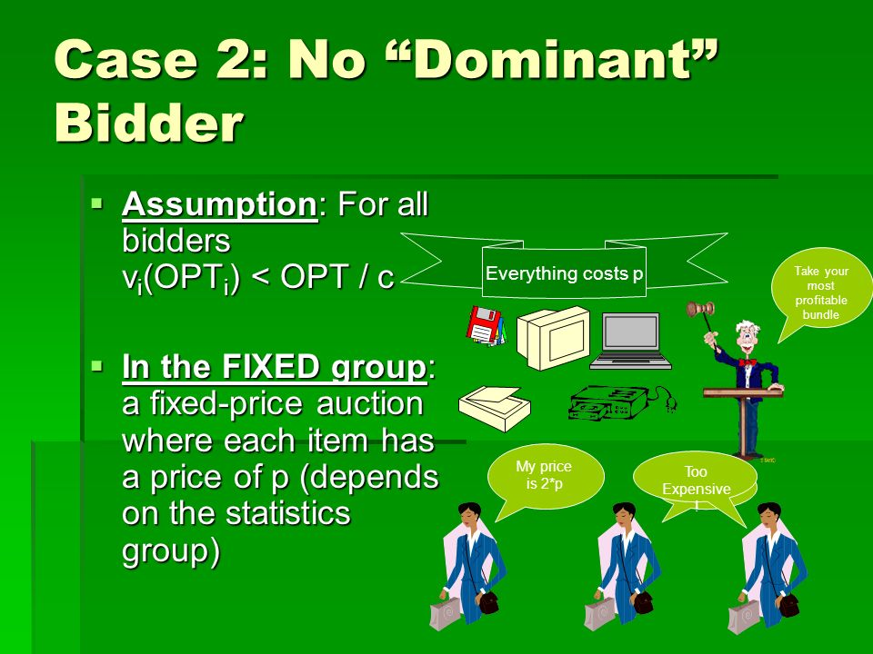 Case 2: No Dominant Bidder Assumption: For all bidders v i (OPT i ) < OPT / c Assumption: For all bidders v i (OPT i ) < OPT / c In the FIXED group: a fixed-price auction where each item has a price of p (depends on the statistics group) In the FIXED group: a fixed-price auction where each item has a price of p (depends on the statistics group) Everything costs p Take your most profitable bundle My price is 2*p I paid p Too Expensive !